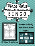 Place Value Bingo - Millions to Thousandths (Standard Form