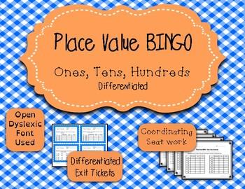 Place Value Game - Bingo - Ones, Tens, Hundreds