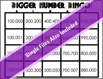 Place Value Bingo for Six Digit Numbers