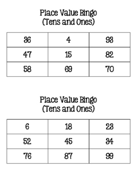 Place Value Bingo (Tens and Ones)