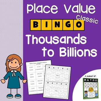 Place Value Bingo to Millions, Billions, Math-O Place Value Games