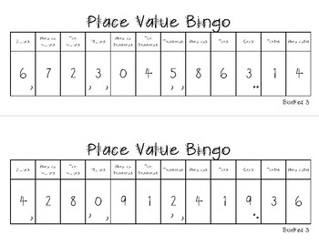 Place Value Bingo - billions to tenths