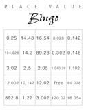Place Value Bingo cards and questions