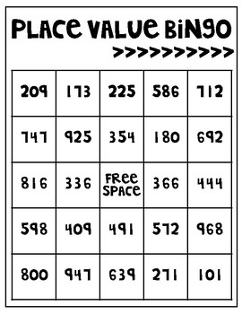 Place Value Bingo for 3 Digit Numbers {Freebie}