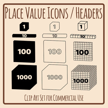 Place Value Block Icons for Headers Etc Clip Art Commercial Use