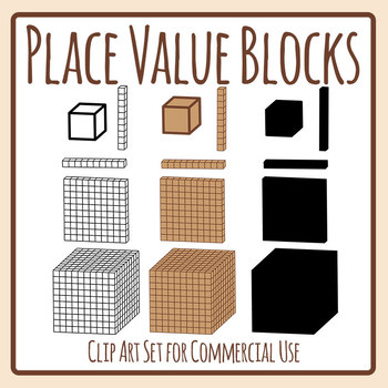 Place Value Blocks Clip Art Set for Commercial Use