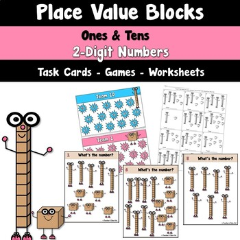 Place Value Blocks to the Ten's Place Task Cards