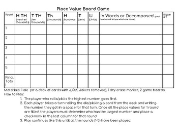 Place Value Board Game (5 versions, Hundreds to Millions)