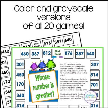 Place Value One Page Games