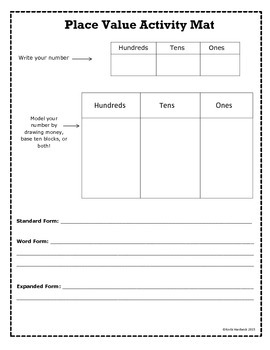 Place Value Activity Mat- Primary Grades
