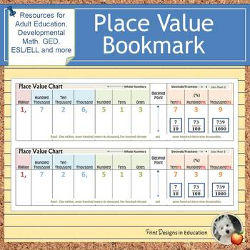 Place Value Bookmark