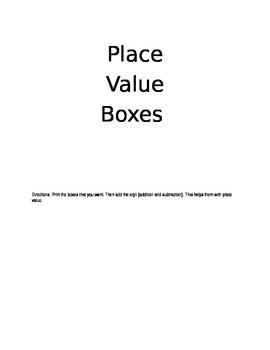 Place Value Boxes