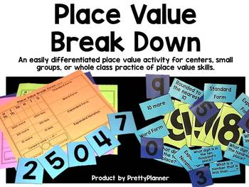 Place Value Break Down- Differentiated Center up to Hundred Thousands