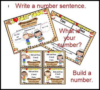 Place Value Build & Number Sentence (Tens Only to 50) /Fast Food