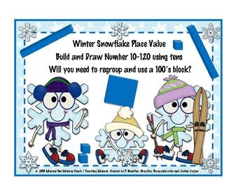 Place Value Build: Snowflakes Build Theme Winter/Snowflakes