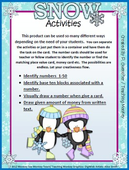 Place Value Build (Tens Only to 50) /Penguin /Winter Penquins Snow Their Numbers