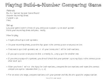 Comparing Decimals Build-a-Number Game 5th Grade CCSS