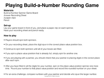Rounding Decimals Build-a-Number Game 5th Grade CCSS