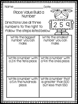Place Value Build a Number Worksheets