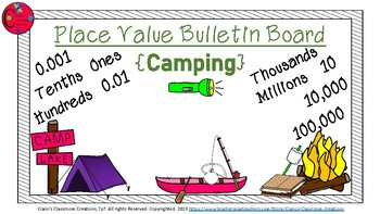 Place Value Bulletin Board {Camping Theme}