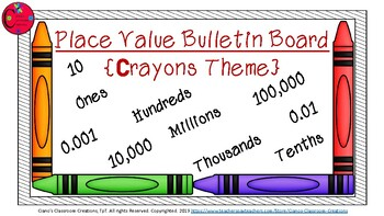 Place Value Bulletin Board {Crayons Theme}