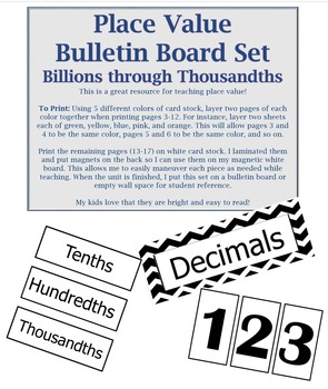 Place Value Bulletin Board Set, Decimals through Billions (Thousandths)