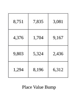 Place Value Bump - A Review Game for Ones through Thousands