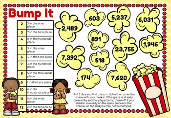 Place Value Bump It- Popcorn Theme