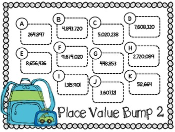 Place Value Bump-Two Games for Identifying Place Value through Millions