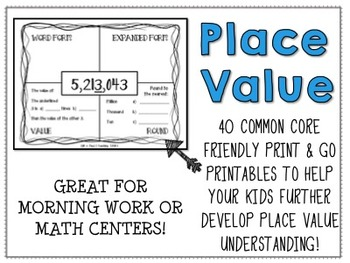 Place Value Worksheets and Task Cards