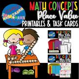 Place Value Math Bundle - Printable Worksheets, Task Cards