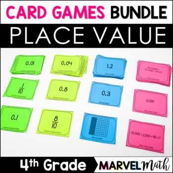 Place Value Card Games Bundle for 4th &5th: Decimals, Expanded Notation & more