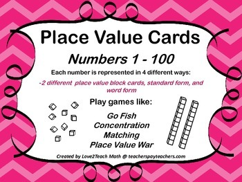 Place Value Cards: Numbers 1 - 100; Use for a variety of math card games!