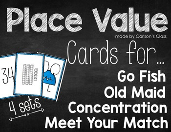 Place Value Cards for Go Fish, Old Maid, Concentration & M