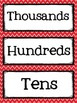 Place Value Cards from Billions to Thousandths {red and black themed}