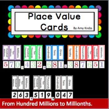 Place Value Cards - whole numbers and decimals