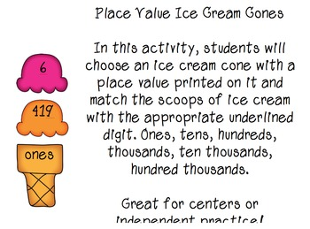Place Value Center Activity- Ice Cream Cones