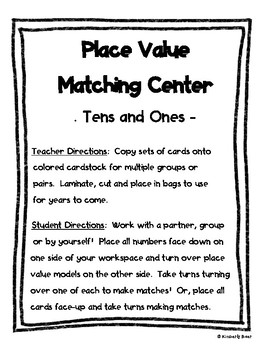 Place Value Center - Matching Tens and Ones