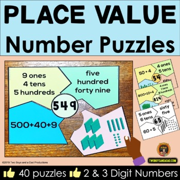 Place Value Center - Puzzles for 2 & 3 Digit Numbers
