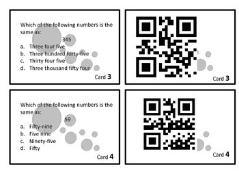 Place Value Center with QR codes SAVE YOUR INK