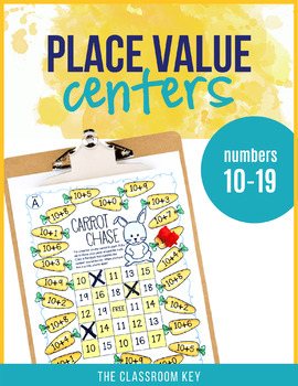 Place Value Centers Numbers 10 to 19 for 1st Grade