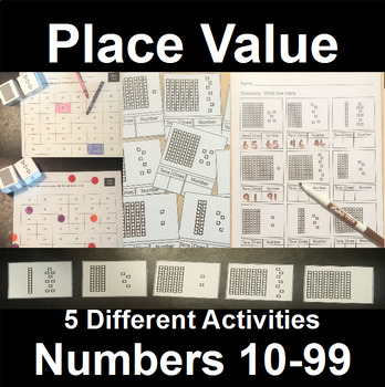 Place Value Centers and Activities with Two Digit Numbers