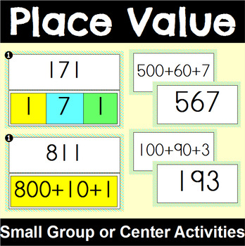 Place Value Centers and Activities for Three Digit Numbers