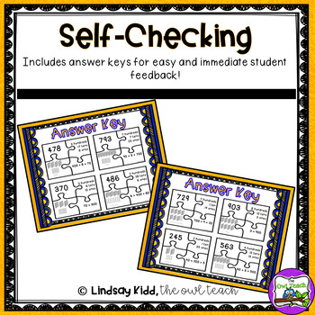 Second Grade Place Value Game:  Challenge Puzzles