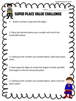 Super Place Value Challenge- with Decimals