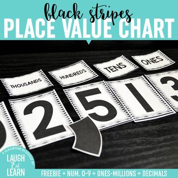 Place Value Chart Display // Black & White {Freebie}