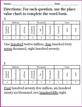 Place Value Chart Activity
