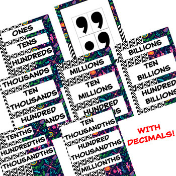 Place Value Chart Posters with Decimals / BOHO and Black & White / rounding