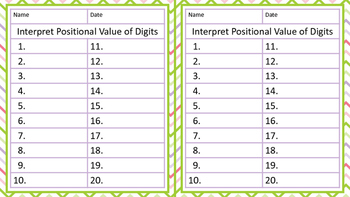 Interpreting the  Positional Value of Digits - Task Cards