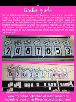 Place Value Chart Display // Pink {Stripes}
